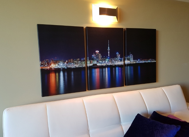 Night scene triptych canvas display